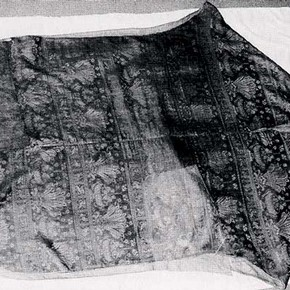 Chasuble before conservation prepared for wet cleaning.