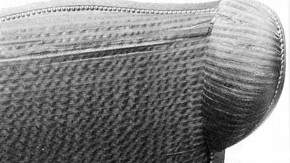 Detail of degraded horsehair cloth on mechanical chair, about 1800