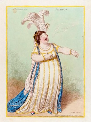 James Gillray, A Bravura Air, caricature of Elizabeth Billington, 1801. TM Collection