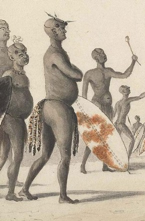 William Cornwallis Harris, 'Mzilikazi (Moselekatse), King of the Matabele' (detail), October 1836, image courtesy of Simon Keynes