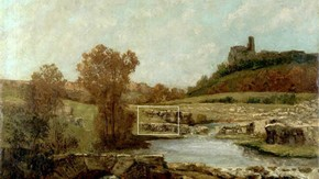 Gustave Courbet Landscape with The Châtel St. Denis, Scey-en-Verais 1873 Oil on canvas. Click to enlarge