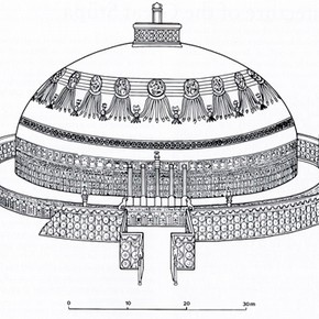Reconstruction of the Great Stupa, Amaravati Based on a drawing from Douglas Reconstruction of the Great Stupa, Amaravati © Reproduced with permission of the British Museum