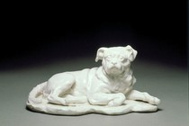 Porcelain sculpture of Hogarth's dog, Trump, Louis-François Roubiliac, 1747–50. Museum no. C.101-1966