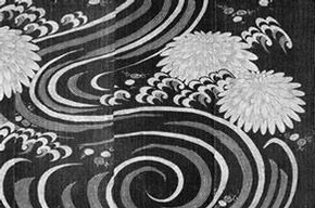 Blue and white futon cover showing chrysanthemums and foaming waves, 19th century. Museum no. T.331-1960