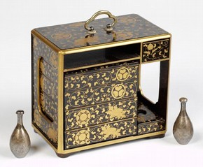 Lacquered miniature picnic set, 1880-1930, Museum no. FE.19:1 to 14-2003
