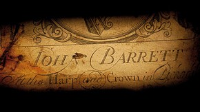 Figure 1. 'John Barrett at the Harp and Crown, Pickadilly, London 1720' Printed label within the 'cello (Photography by Karen Lacroix)