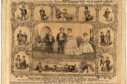 Poster illustrating Tom Thumb's wedding, 1866. Museum no.S.981-1984