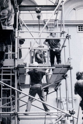 Fig. 1. Removal from the rood screen: lowering the figure