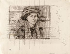 The feathered hat; Study for a portrait of the Artist's wife, Robert Polhill Bevan, about 1915. Musuem no. CIRC.241-1963. © Victoria and Albert Museum, London.
