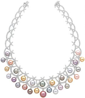Necklace from the Carnevale Collection, made by Yoko, London, 2013, 18 carat white gold, diamonds, natural colour pink and orange freshwater pearls, golden Indonesian South Sea and white Australian South Sea pearls, grey and blue Tahitian pearls. © Yoko London