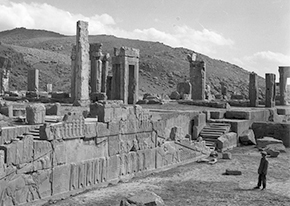 Figure 4 - West stairs, Palace of Xerxes at Persepolis, excavation photograph, 1930s. Courtesy of the Oriental Institute of the University of Chicago
