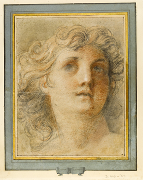 Figure 1 - Study for the head of an angel in the Dome of the Chapel at the Château de Sceaux, Drawing, Charles Le Brun, France, 1674 - 5, Black, red and white chalk on light brown paper. Museum no. D.1103-1900, © Victoria and Albert Museum, London