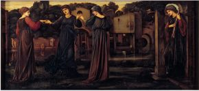 Edward Burne-Jones (1833-1898), The Mill – Girls dancing to music by a river, 1870-1882, oil on canvas. Museum no. CAI. 8, © Victoria and Albert Museum, London