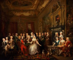 An assembly at Wanstead House, William Hogarth, 1728-31, oil on canvas. Philadelphia Museum of Art, The John Howard McFadden Collection, 1928