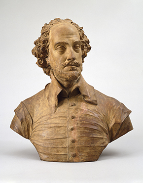Terracotta bust of William Shakespeare, by John Michael Rysbrack, England, ca. 1730, A.1-1924. © Victoria and Albert Museum, London.