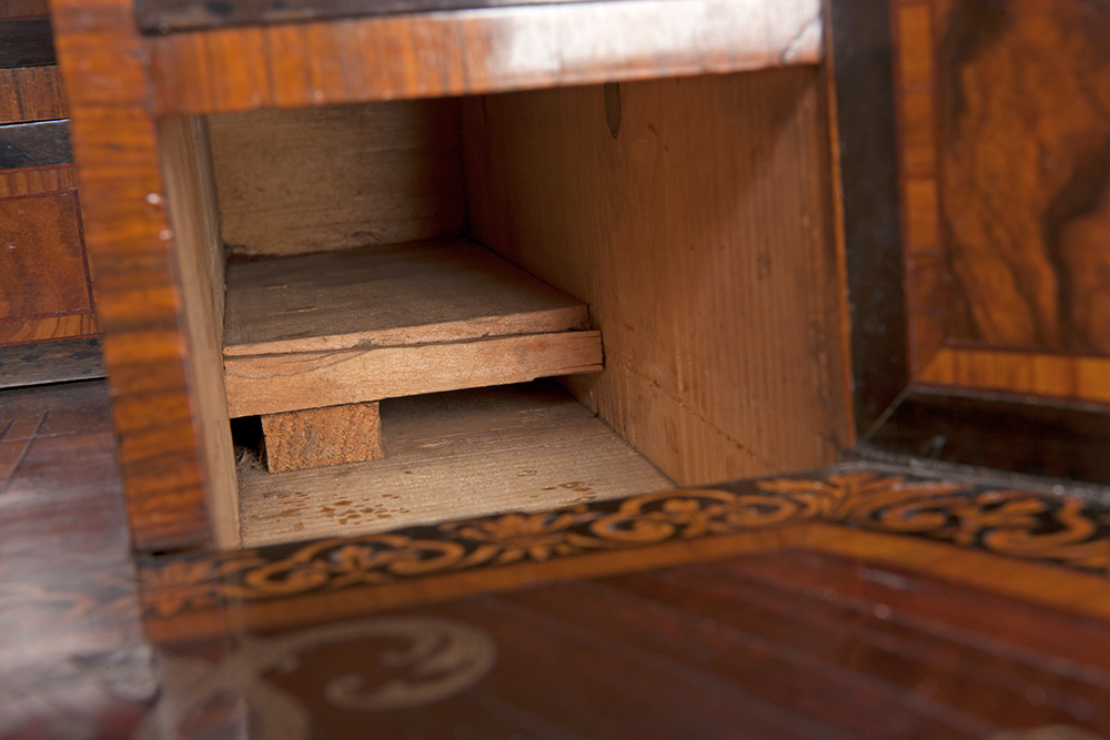 Writing cabinet: detail showing recess where Arend's letter was hidden.