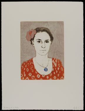 Ellen Heck: Margaret as Frida, 2011, woodcut and drypoint Museum no. E.651:12-2014