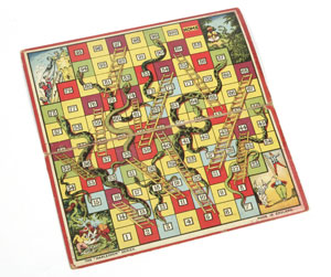 Snakes and Ladders game, England, 1920s copyright Victoria and Albert Museum