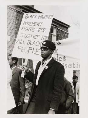 Neil Kenlock, 'Untitled [Young men of  the Black Panther movement march in support of black community]', 1971. Museum no. E.218-2012. © Neil Kenlock/ Victoria and Albert Museum, London. Supported by the National Lottery through the Heritage Lottery Fund.