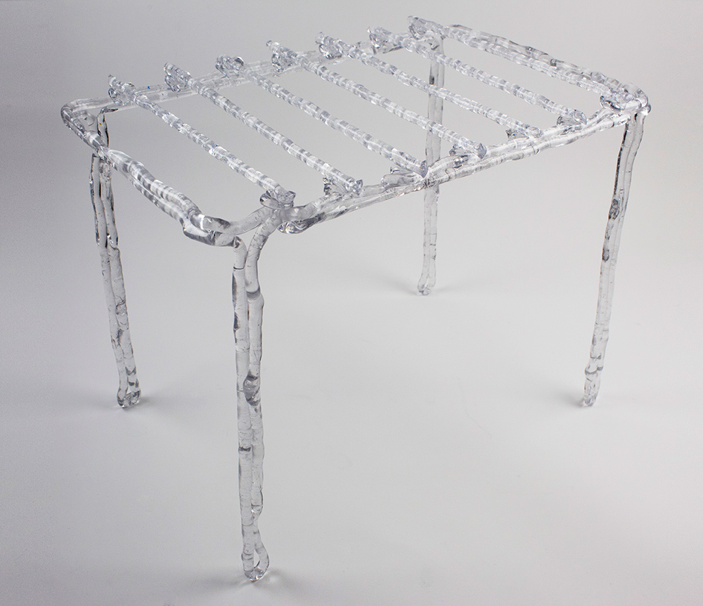 The Rise of the Plasticsmith, square side table, Gangjian Cui, 2014, plastic. © Gangjian Cui