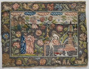 Susanna and the Elders, embroidered picture, unknown maker, England, mid-17th century, silk and metal thread on canvas. Museum no. 64.101.1300. © Metropolitan Museum of Art, New York