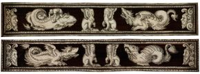 Two details from the backgammon boards showing monsters, sphinxes and masks