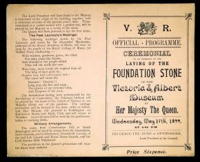Official programme for the laying of the Foundation Stone of the Victoria & Albert Museum, unknown maker, London, 1899, letterpress, blue ink on pink paper. Museum no. E.1458-1984. © Victoria and Albert Museum, London
