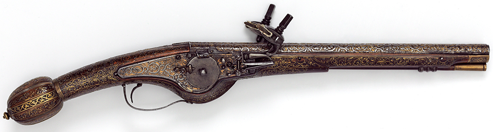 Double-barrelled wheel-lock pistol, formerly in the Cabinet d'Armes of Louis XIII of France, 1600-25, France, wood inlaid with copper alloy wire, pewter and horn, steel barrel. Museum no. M.13-1923, © Victoria and Albert Museum, London
