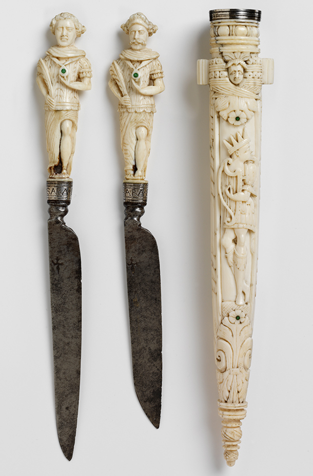 Pair of marriage knives with sheath, about 1650,  Dutch Republic (now the Netherlands), ivory inset with turquoises and  steel. Museum no. M.379 to B-1924, © Victoria and Albert Museum, London