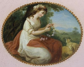 Side table (detail of shepherdess figure), George Brookshaw, about 1785. Museum no. 349A-1871