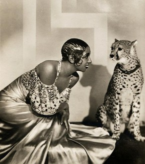 Photo Card No.101, Dancer Josephine Baker posing with a cheetah wearing a collar, photograph by Piaz Studios of Paris, Early 1930`s.  Victoria and Albert Museum, London
