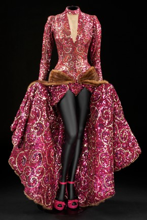 Sequinned and beaded gown with mink trimmed train designed by Edith Head for Ginger Rogers as Liza Elliot in the 1944 film Lady in the Dark