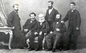 Michael Thonet (centre) with his five sons (left to right): Michael, Josef, August, Franz, Jakob (Thonet GmbH, Frankenberg, Germany). Michael Thonet's sons held key positions in the family firm and ensured its continued success after his death in 1871.