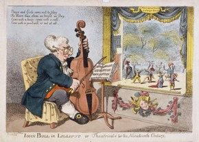 Coloured print entitled John Bull in Lilliput or Theatricals for the Nineteenth Century, published by S W Fores, London, England, February 1805, Harry Beard Collection. Museum no. S.4651-2009