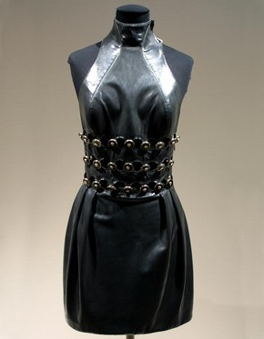 Mini evening dress, Spring-Summer 1996, Versace, leather, synthetic tulle, lace, beads & sequins