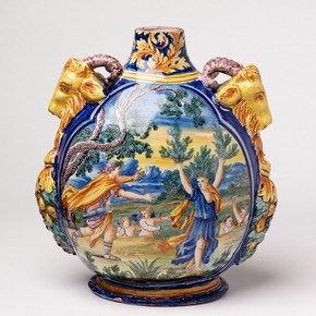 Pilgrim bottle, Nevers, France, 1600-1650. Museum no. 4361-1857