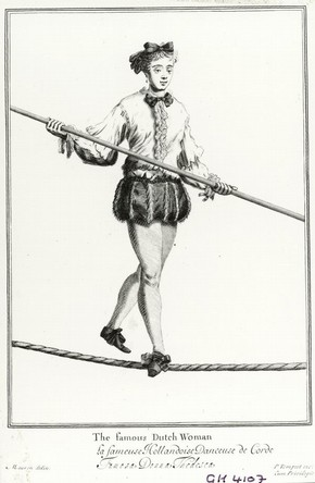 Engraving of Dutch ropewalker, 17th to 18th century