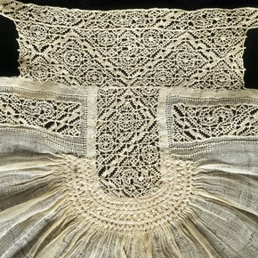 Detail of a linen and cutwork baby's bonnet or coif, Southern Netherlands, 1550-1600. Museum no. 7523-1861