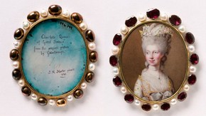 Miniature of Queen Charlotte after Thomas Gainsborough. Johann Heinrich Hurter. England. 1781.Museum no. Loan: Gilbert.242-2008