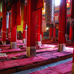 Interior of assembly hall, Sera, Tibet. Photograph by Marijn van Goudoever