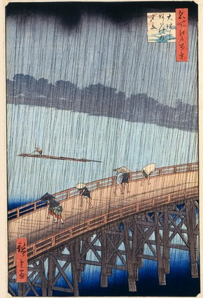 &#39;Sudden Shower at Ohashi Bridge&#39;, Utagawa Hiroshige, Japan, 1856-58. Museum no. E.3882B-1886