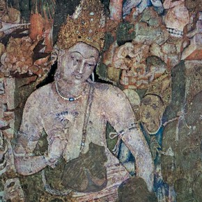 Mural painting of Padmapani, 6th century, Cave 1, Ajanta. © John Huntington
