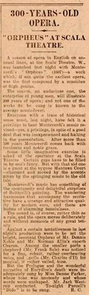 Newspaper review of Monteverdi&#39;s Orfeo, 29 December 1929