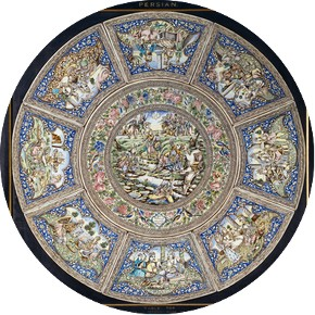 Ali Muhammad Isfahani, table top, fritware with underglaze decoration, Tehran, 1887, ordered by Colonel Robert Murdoch Smith