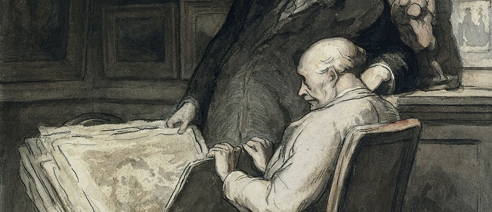 The Print Collectors, watercolour, Daumier, 1860-1864. Museum no. CAI.118 © Victoria and Albert Museum, London.