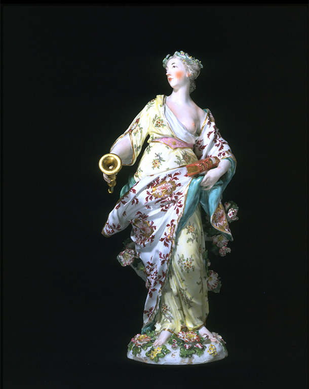 Clio, soft-paste porcelain figure and stand, Joseph Willems, about 1758-69. Museum no. 792:1-2-1864 © Victoria and Albert Museum, London