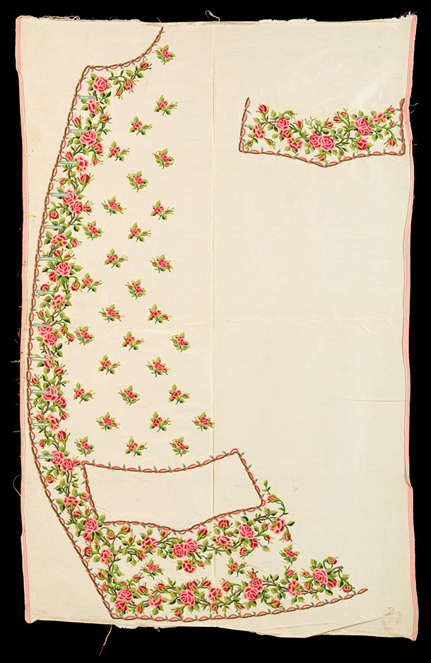 Waistcoat panel, 1750-60,  France, embroidered silk. Museum no. T.12A-1981, © Victoria and Albert  Museum, London
