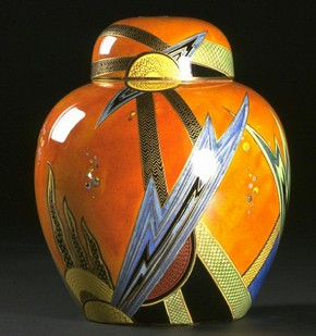 Jazz jar and cover, Enouch Boulton, about 1928. Museum no. CIRC.526-1974