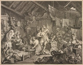 Hogarth, 'Strolling Actresses in a Barn', 1738