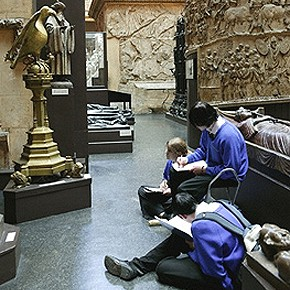 Students drawing in the Cast Courts